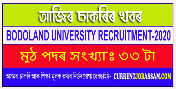 Bodoland University, Kokrajhar Recruitment 2020
