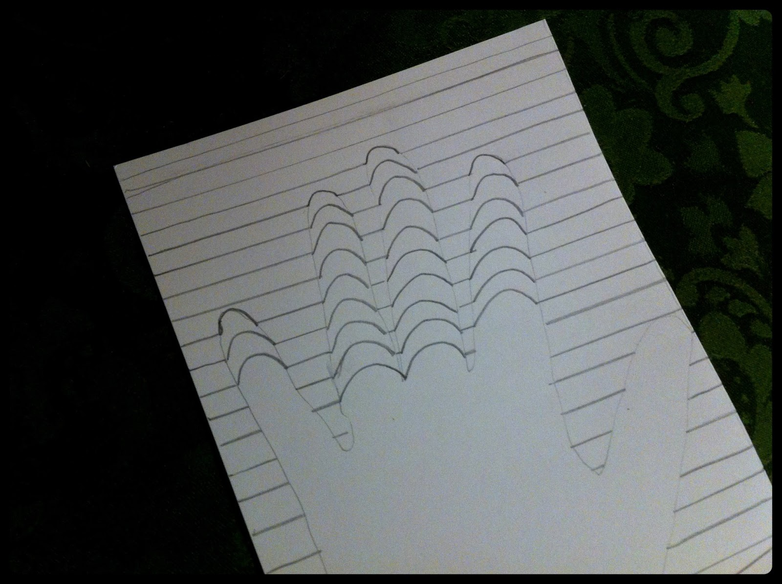 illusion optical hand lines paper drawing draw line curved box crayon hands note into
