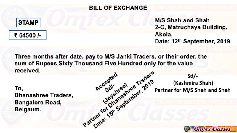 Drawer: Kashmira Shah, Partner M/S Shah and Shah, 2-C, Matruchaya Building, Akola. Drawee: Dhanashree Traders, Bangalore Road, Belgaum. (Signed by Jayashree, Partner) Payee: M/S Janki Traders, Akola)
