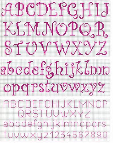 schema punto croce alfabeto per neonato