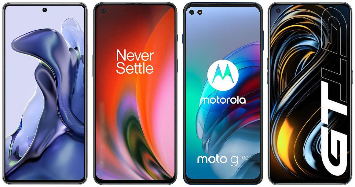 Xiaomi 11T vs OnePlus Nord 2 vs Motorola Moto G100 vs Realme GT