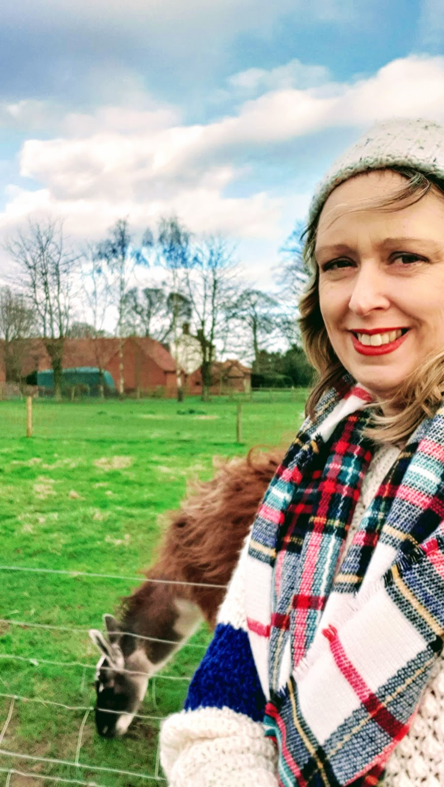 But First Llama Take A Selfie | Cosy Jumper, Woolie Hat And Tartan Scarf