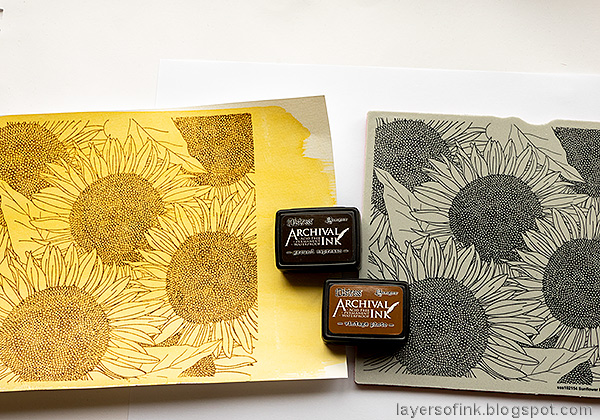 Layers of ink - Sunflowers with colored pencils tutorial by Anna-Karin Evaldsson.Stamp the Simon Says Stamp Sunflower Background.