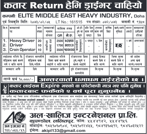Free Visa, Free Ticket, Jobs For Nepali In QATAR, Salary -Rs.1,02,900/