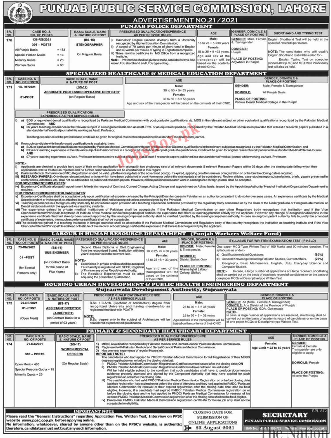 Punjab Police Jobs 2021 – PPSC Punjab Police Stenographers Jobs – Online Apply