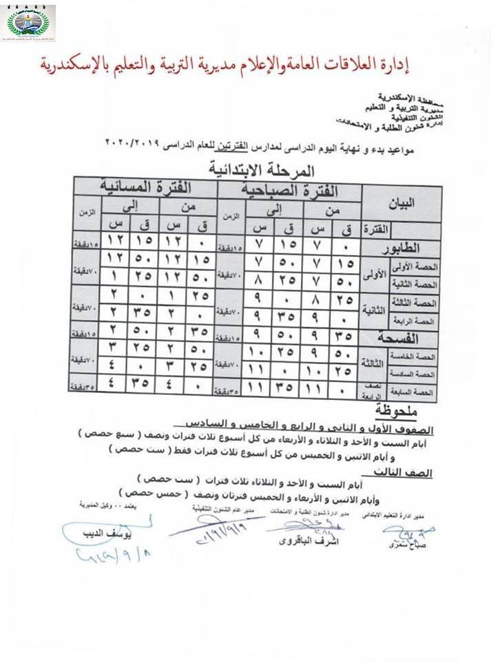 """رسمياً.. مواعيد بدء ونهاية اليوم الدراسى لجميع المراحل للعام الدراسي ٢٠٢٠/٢٠١٩ """"مستند"""" 10"""