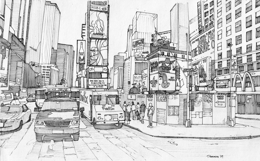 04-Times-Square-New-York-Tom-Hopkinson-Drawings-of-our-Lives-Depicted-in-Urban-Sketches-www-designstack-co