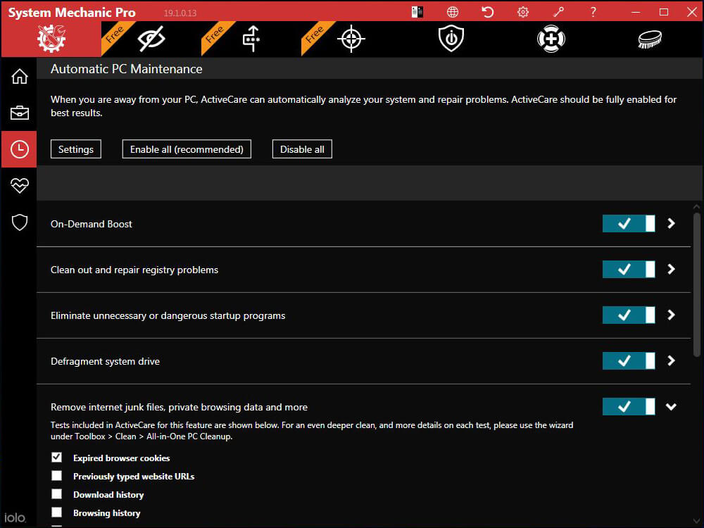 System Mechanic's ActiveCare Tab Screenshot