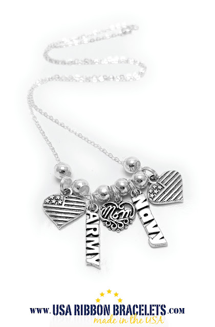 Army and Navy USA Flag Charm Necklace for MOM