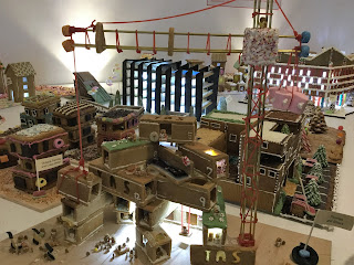 Pic of gingerbread construction site with crane in foreground