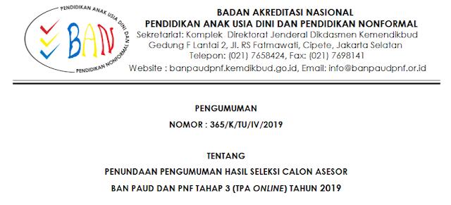 Jadwal Pengumuman Hasil Seleksi Calon Asesor BAN PAUD dan PNF Tahap 3 (TPA Online) Tahun 2019