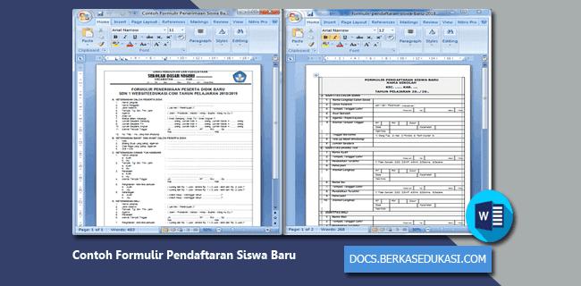 Contoh Formulir Pendaftaran Siswa Baru Tahun 2019-2020