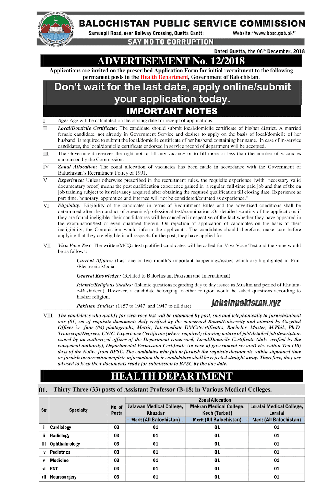 Advertisement for BPSC Jobs December 2018 Page Number 1/3