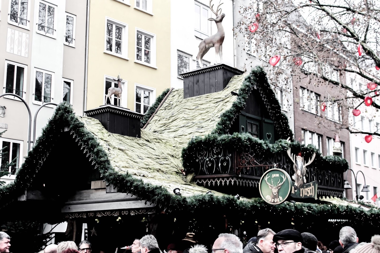 Decorate Stall Roofs at German Christmas Market