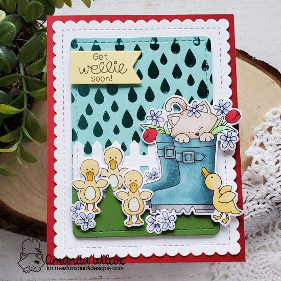Spring kitty in Rain boots Get Well Card by Amanda Wilcox | Newton's Rain Boots Stamp Set, Fence Die Set, Land Borders Die Set, and Raindrops Stencil by Newton's Nook Designs #newtonsnook #handmade