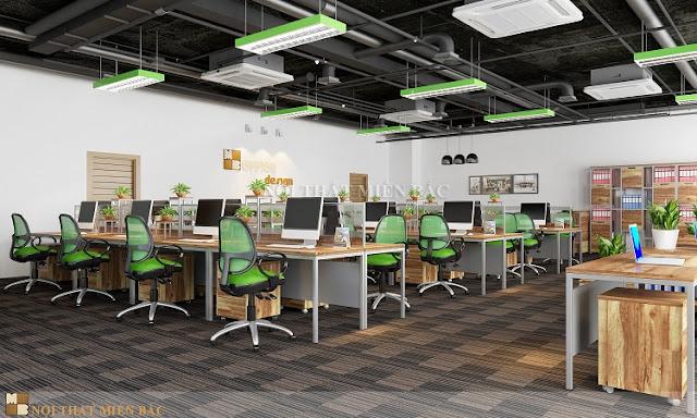 Bàn làm việc văn phòng có chất liệu từ gỗ với màu sắc trầm ổn, tự nhiên của gỗ ngày càng được sử dụng phổ biến