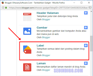 cara memasang widget label di blog