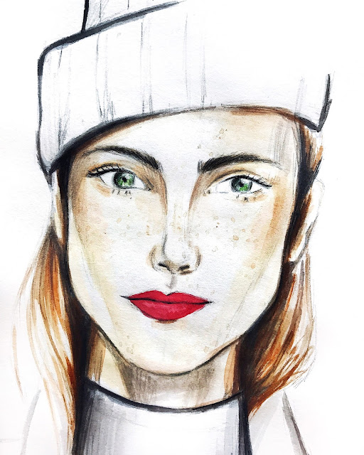 watercolor, face, lips