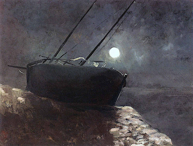 a painting by Odilon Redon, a beached boat at night