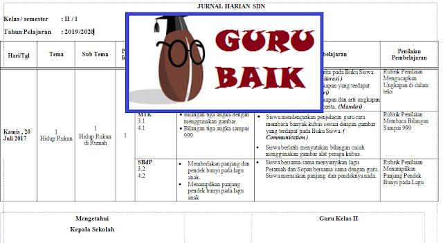 Jurnal Harian Kelas 2 Semester 1 Kurikulum 2013 Revisi 2018