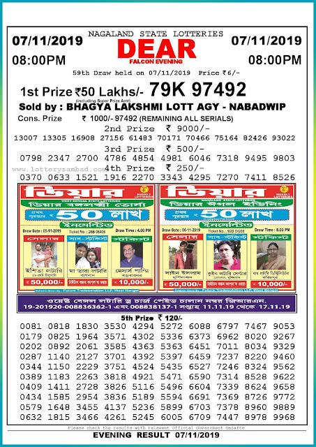 Sambad lottery 07-11-2019 Nagaland State Lottery Result 08.00 PM-lotterysambadresults.com