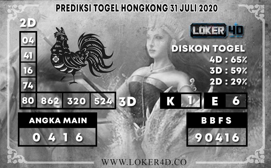 PREDIKSI TOGEL LOKER4D HONGKONG 31 JULI 2020