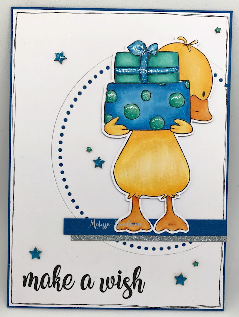 Birthday card with duck with presents digital stamp