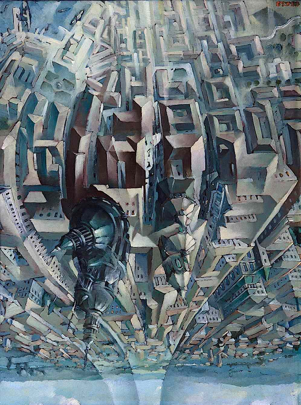 a Tullio Crali painting of a birdseye view of an urban landscape