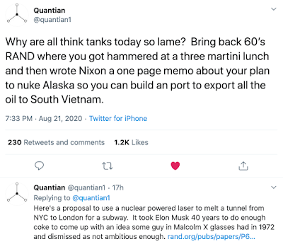 screenshot of tweet with sarcastic comment about think tanks