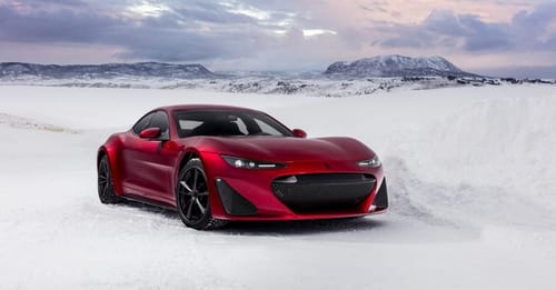 Drako GTE's electric supercar rushes into an icy lake