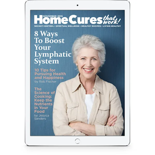 Health Reports by Barton Publishing ezine cover shows a smiling woman with grey curly hair. Headlines Text reads:Health Cures that Work 8 Ways to Boost Your Lymphatic System 10 Ways to Boost Your Health and Happiness by Rob Fisher ;The Science f Cooking: Keep the Nutrients in Your Food by Jessica Sanders