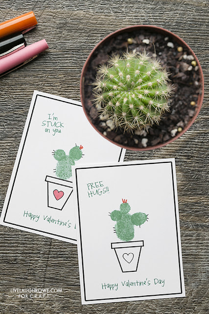 thumbprint cactus valentine cards