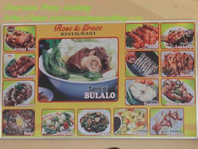 Batangas Bulalo at Rose and Grace Restaurant - Menu