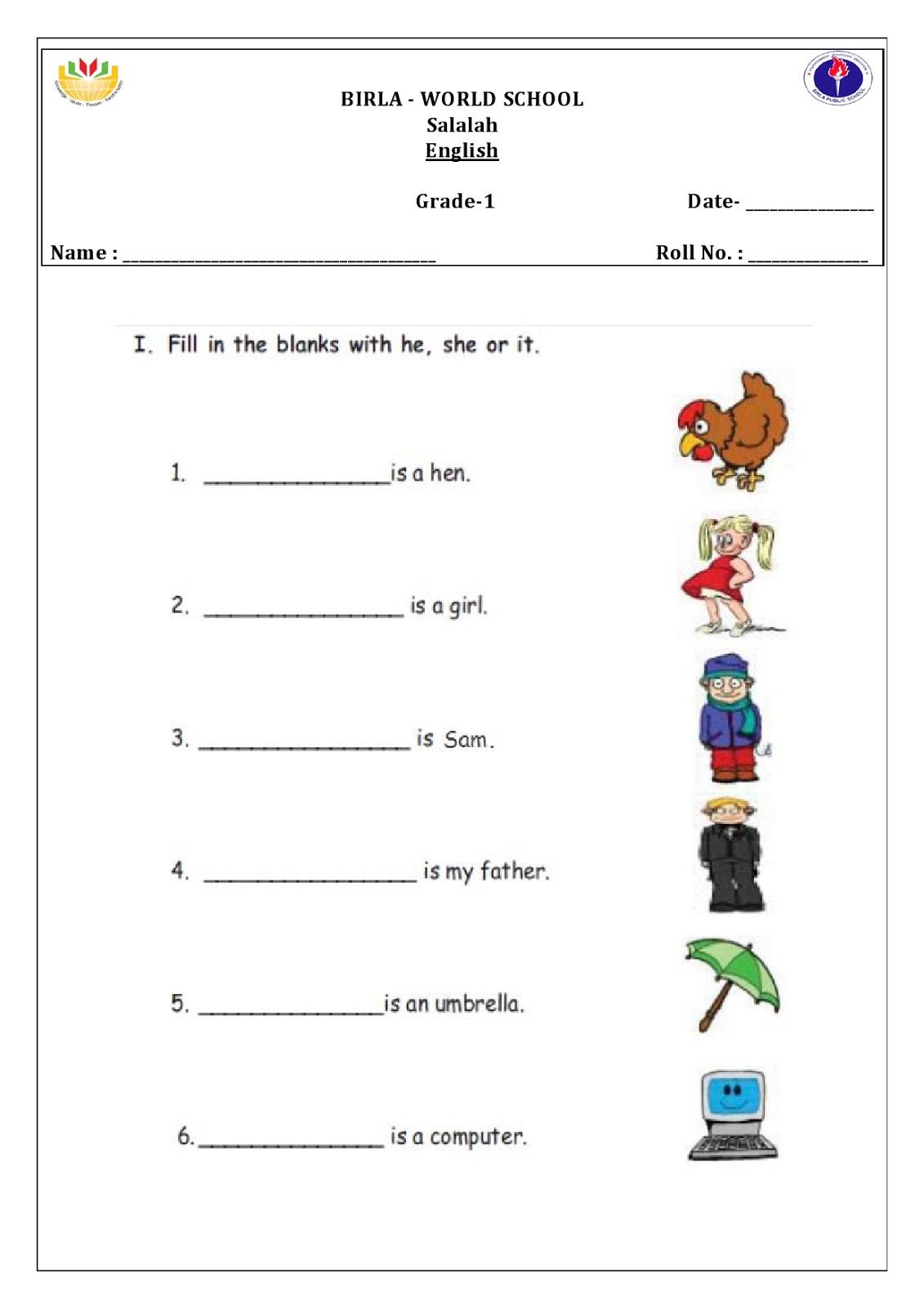 Worksheets For Grade 1 Cbse
