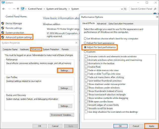 Change Performance Options Windows 10