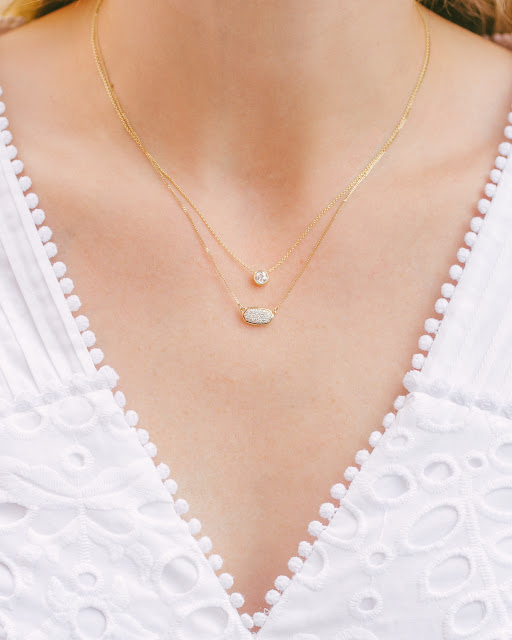 Bezel Set Diamond Necklace and Kendra Scott Lisa Necklace