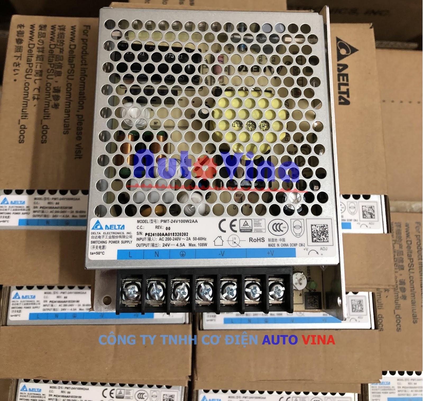 Đại lý bán nguồn DC 24V hãng Delta PMT-24V100W2AA. Cung cấp nguồn dùng cho PLC Delta, chuyên lắp trong tủ điện PLC cảm biến công nghiệp