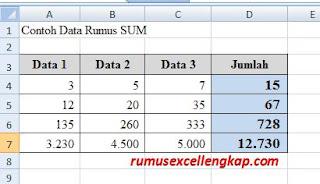Contoh data rumus sum