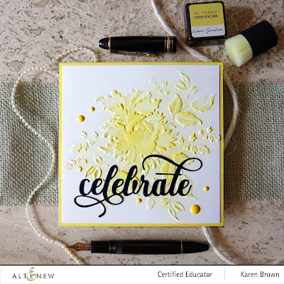 Yellow ink blending on dry embossing.