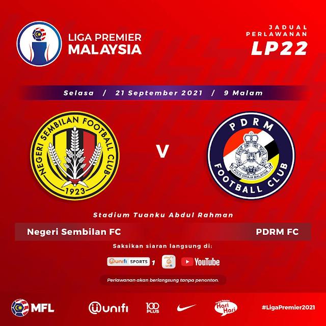 Live Streaming Negeri Sembilan vs PDRM 21.9.2021
