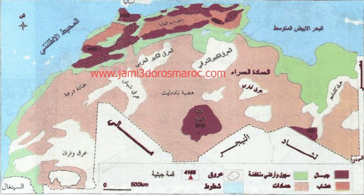 خريطة تنوع العناصر الطبيعية بالمغرب العربي