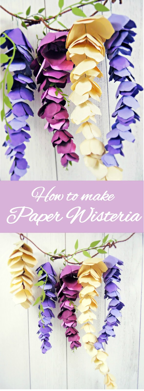Hanging Paper Wisteria Tutorial & Templates - Catching Colorflies