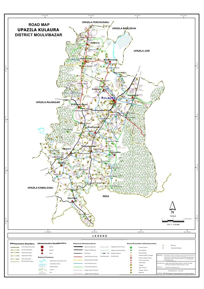 Kulaura Upazila Road Map Moulvibazar District Bangladesh