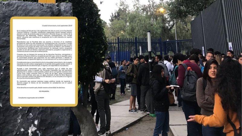 Estudiantes cierran Ciencias Políticas de la UNAM para impedir que Ricardo Anaya imparta diplomado