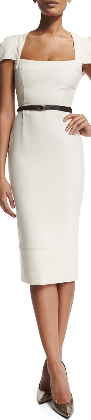 Roland Mouret Galaxy Square-Neck Sheath Dress, White