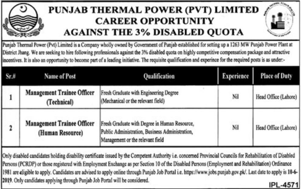 Punjab Thermal Power Pvt Jobs 2019