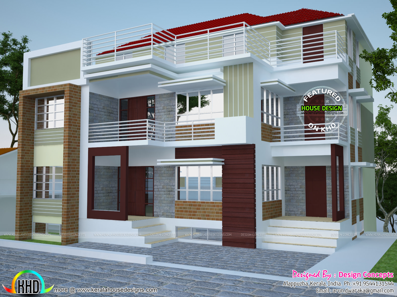 Multi family 4 plex home plan kerala home design and for Multi dwelling house designs