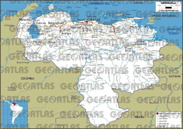 Mapa rodoviário da Venezuela - GeoAtlas