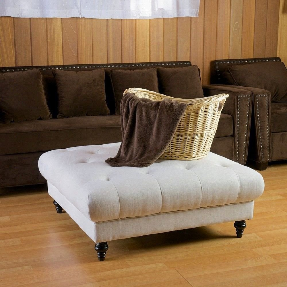Coffee Table With Fabric: Perfect And Comfortable Fabric Ottoman Coffee Table