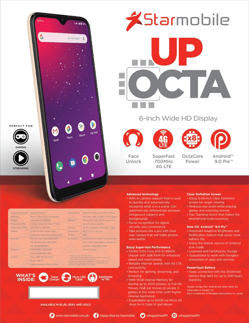 Starmobile UP Octa offers Cortex-A55 cores and 700MHz 4G LTE for PHP 4,990